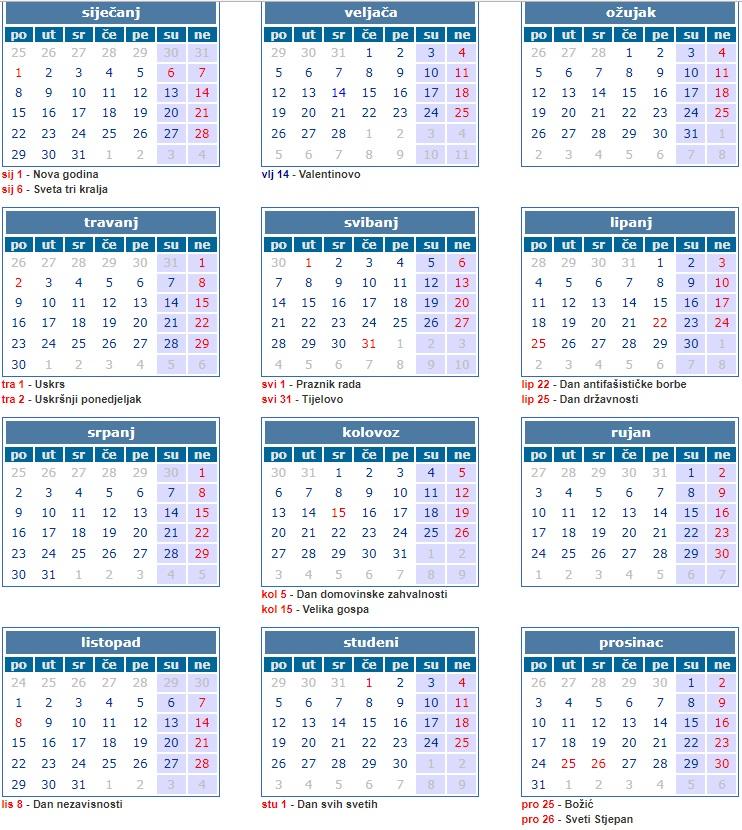 Pravoslavni Kalendar 2019 Godine