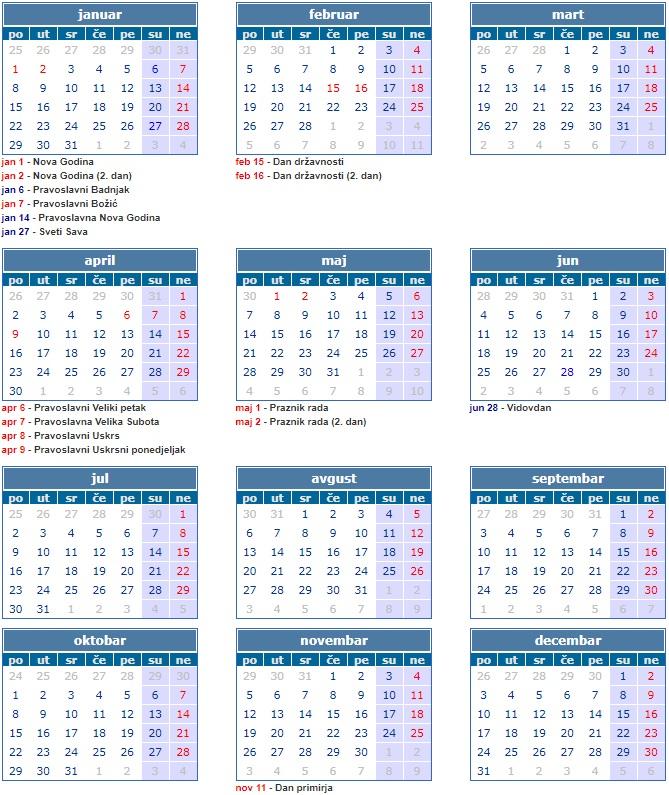 Kalendar Sa Neradnim Danima U Srbiji 2018 Neradni Dani