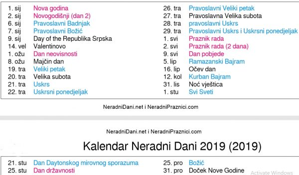 Kalendar u Bosni i Hercegovini 2019